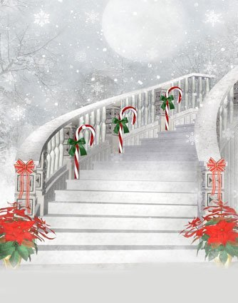Christmas Stairs Backdrop