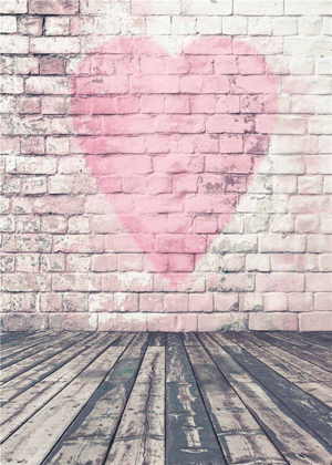 Pink Heart Brick Wall Backdrop