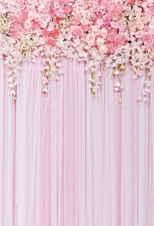 Pink Flower Curtain Backdrop