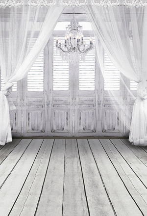 White Chandelier Room Backdrop