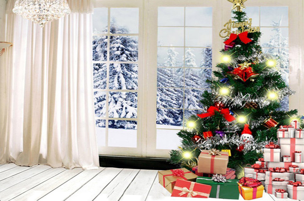 Christmas Tree White Room Backdrop