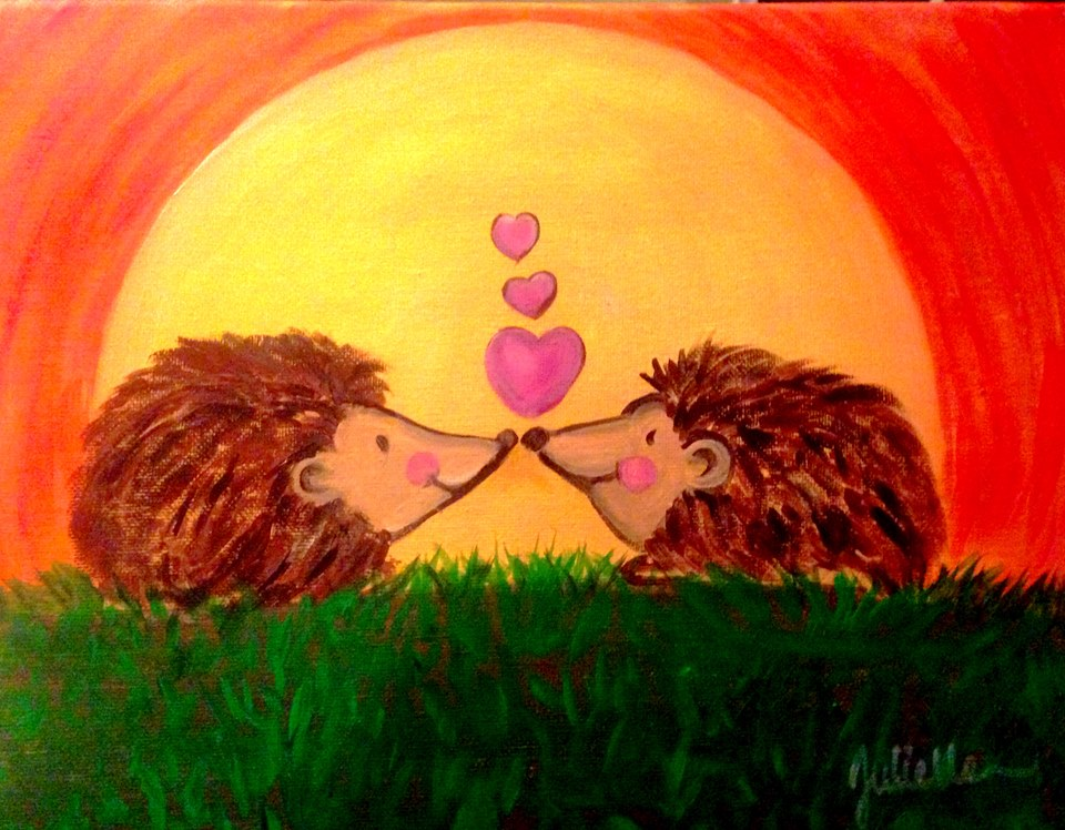 hedgehogs painting