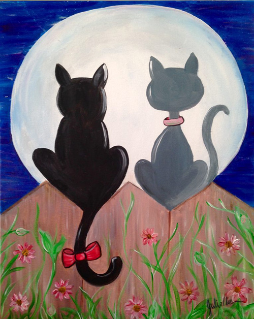 Kitties in the moon painting