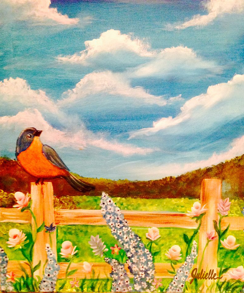 Bird on a fence painting