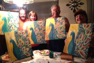 Peacock group painting party
