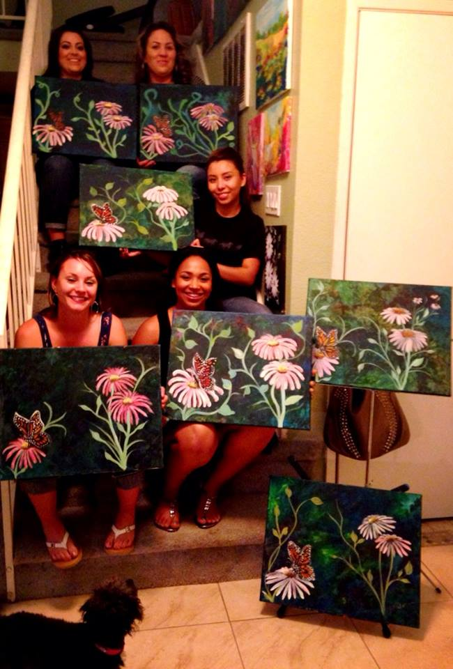 Butterfly on Echinacea Painting Party