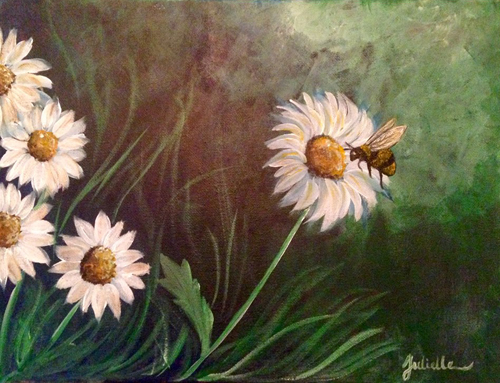 Daisies with bee painting