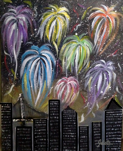 City Scape Fireworks Painting