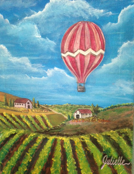 Hot Air Balloon over Vinyard Painting