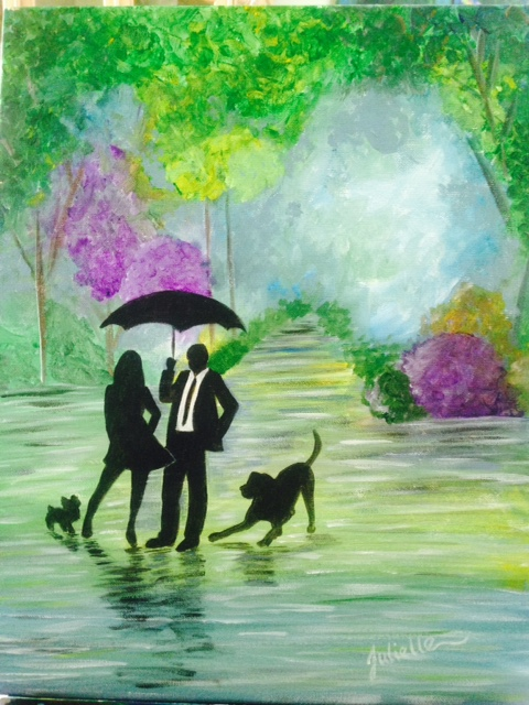 Rainy day couple in the park painting class