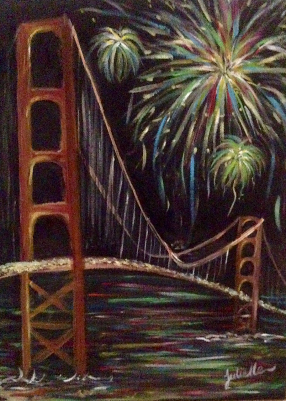 Golden Gate Bridge Fireworks Painting