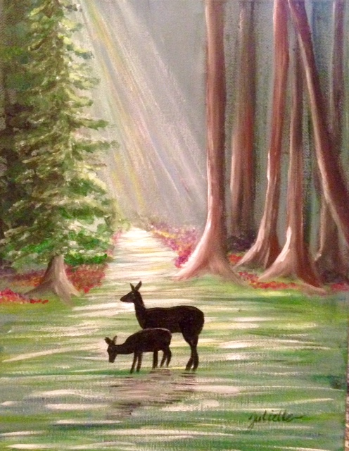 deer in the redwoods painting class