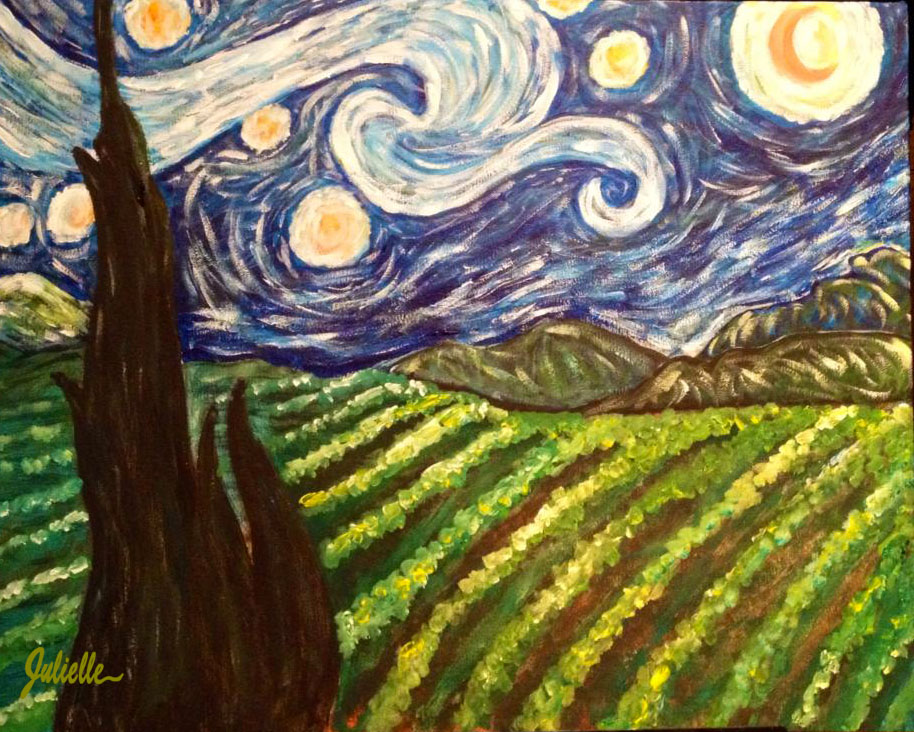 Starry Night over Vineyard Painting