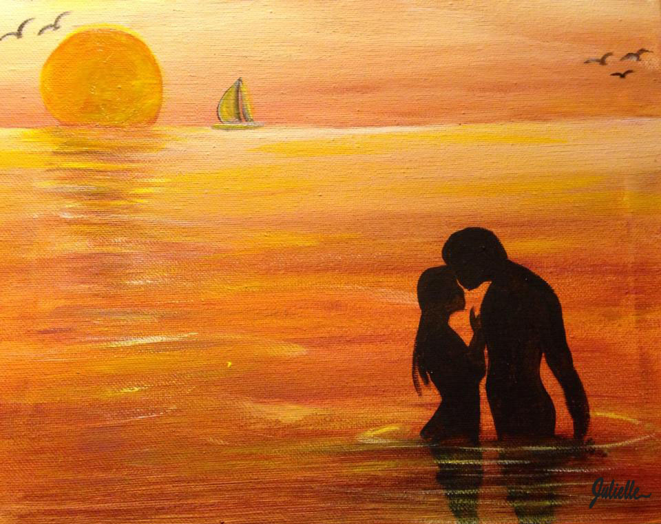 Romantic Couple painting party