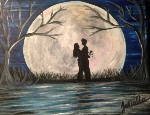 moonlight couple painting party