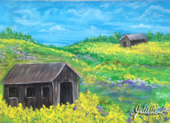 Barn with mustard painting