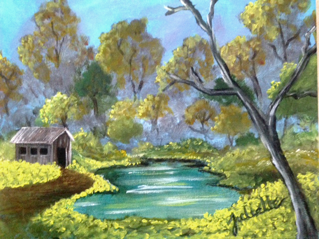 Peaceful Lake with mustard Painting