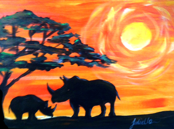 Rhino Sunset Painting