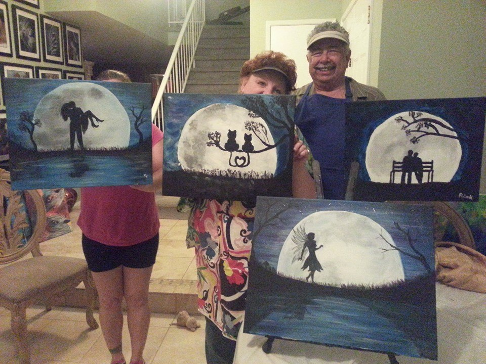Moonlight Silhouette Painting Party