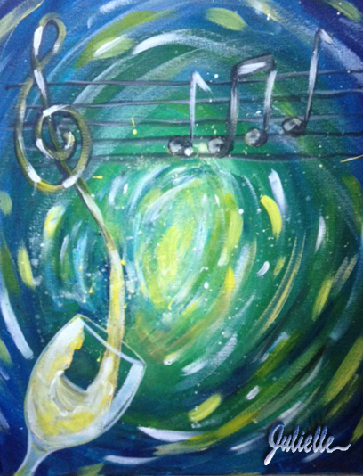white wine with music painting