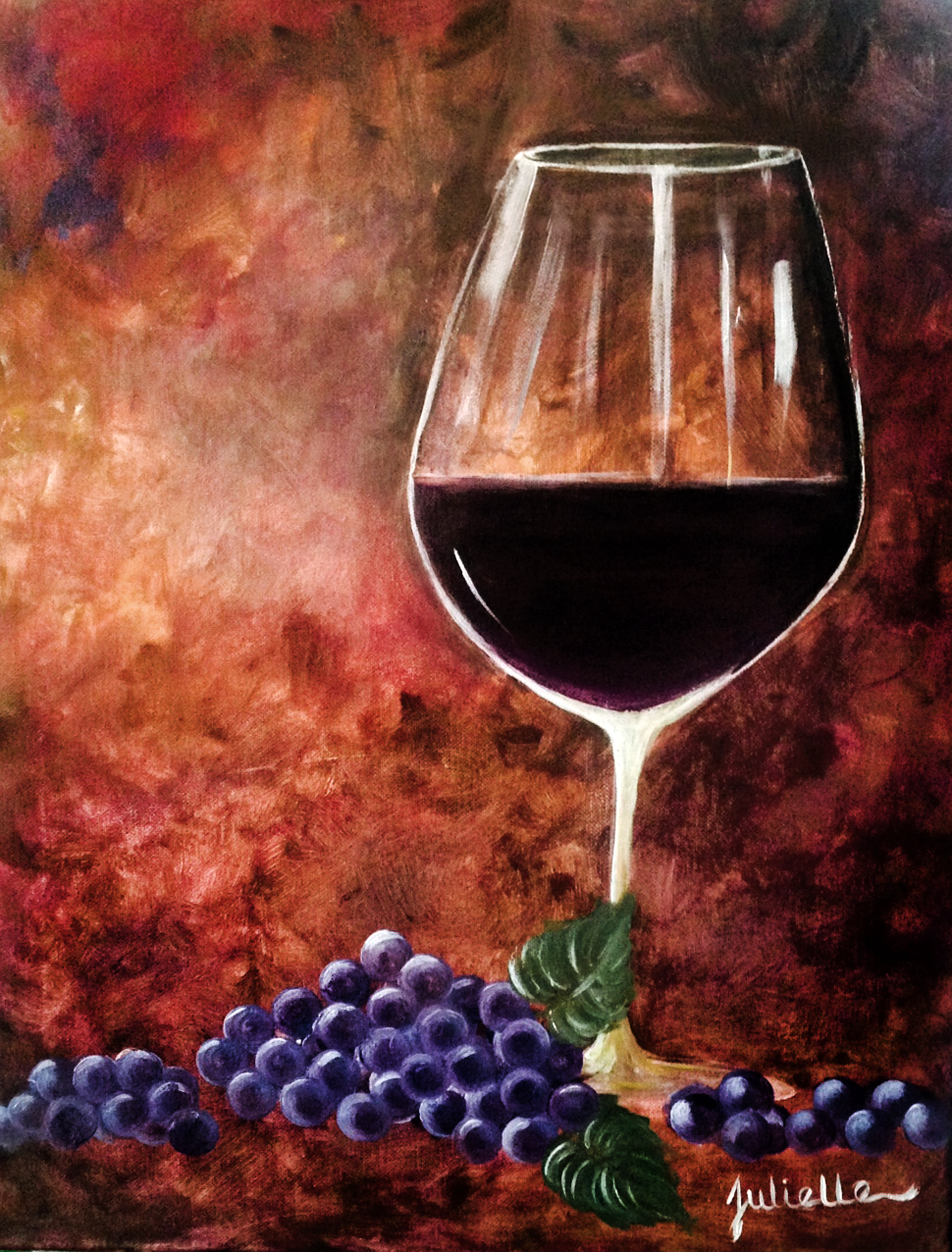 wine glass with grapes painting